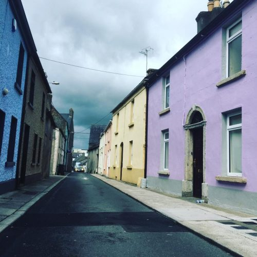 A street of colourful houses in Carlow Ireland