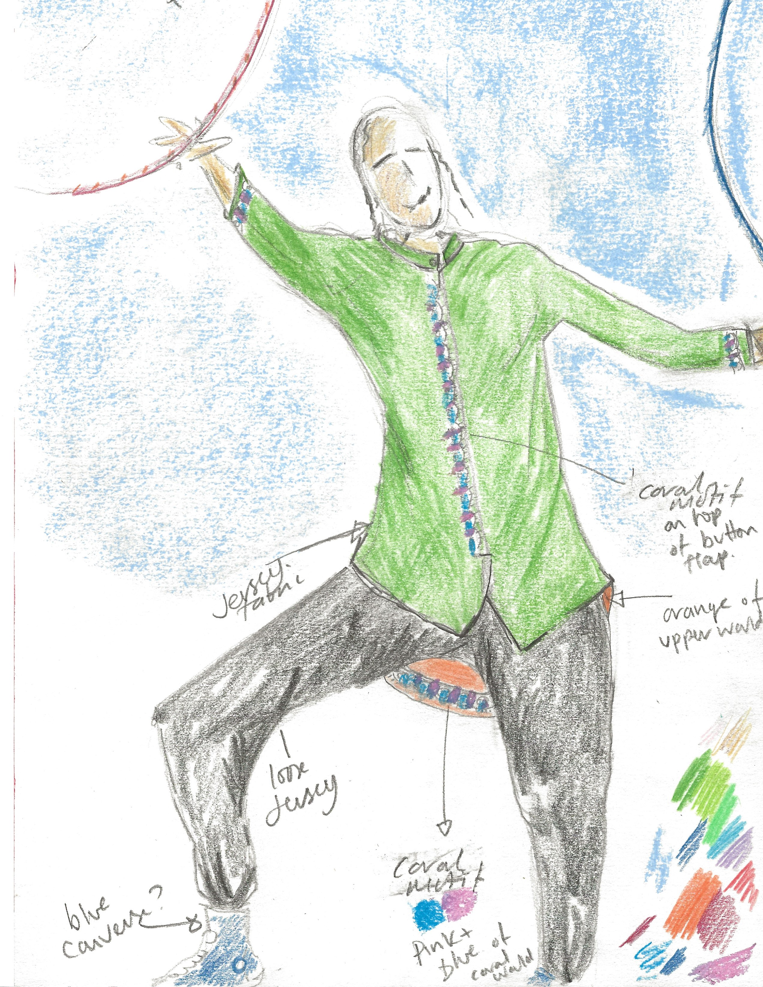 Splash by Extraordinary Bodies - Costume design illustrations by Laura Guthrie - A circus performer reaching for an aerial hoop, wearing black trousers, a long green tunic with coral details on the buttons.