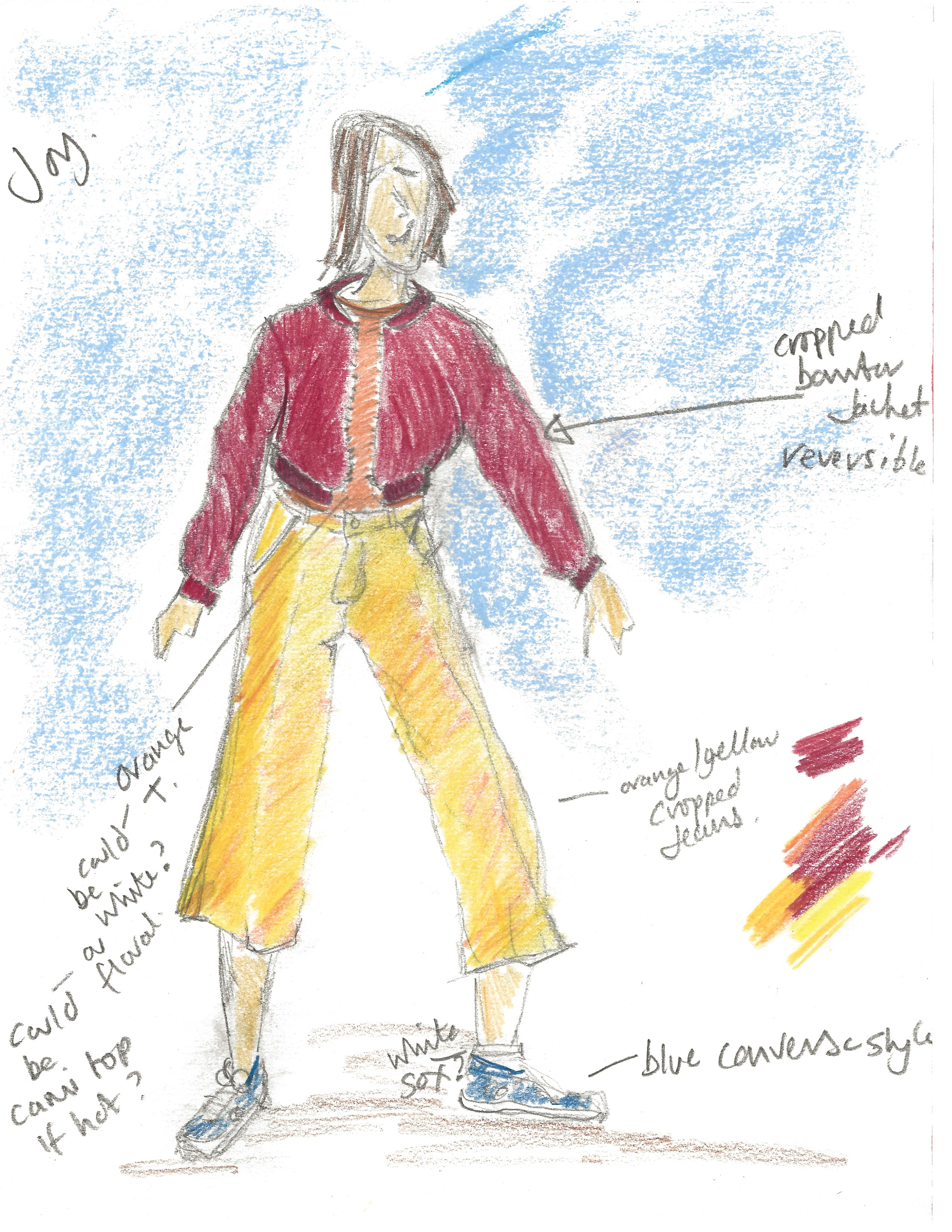 Splash by Extraordinary Bodies - Costume design illustrations by Laura Guthrie - A girl wearing red zipped jacket and 3/4 length yellow trousers and blue converse shoes.