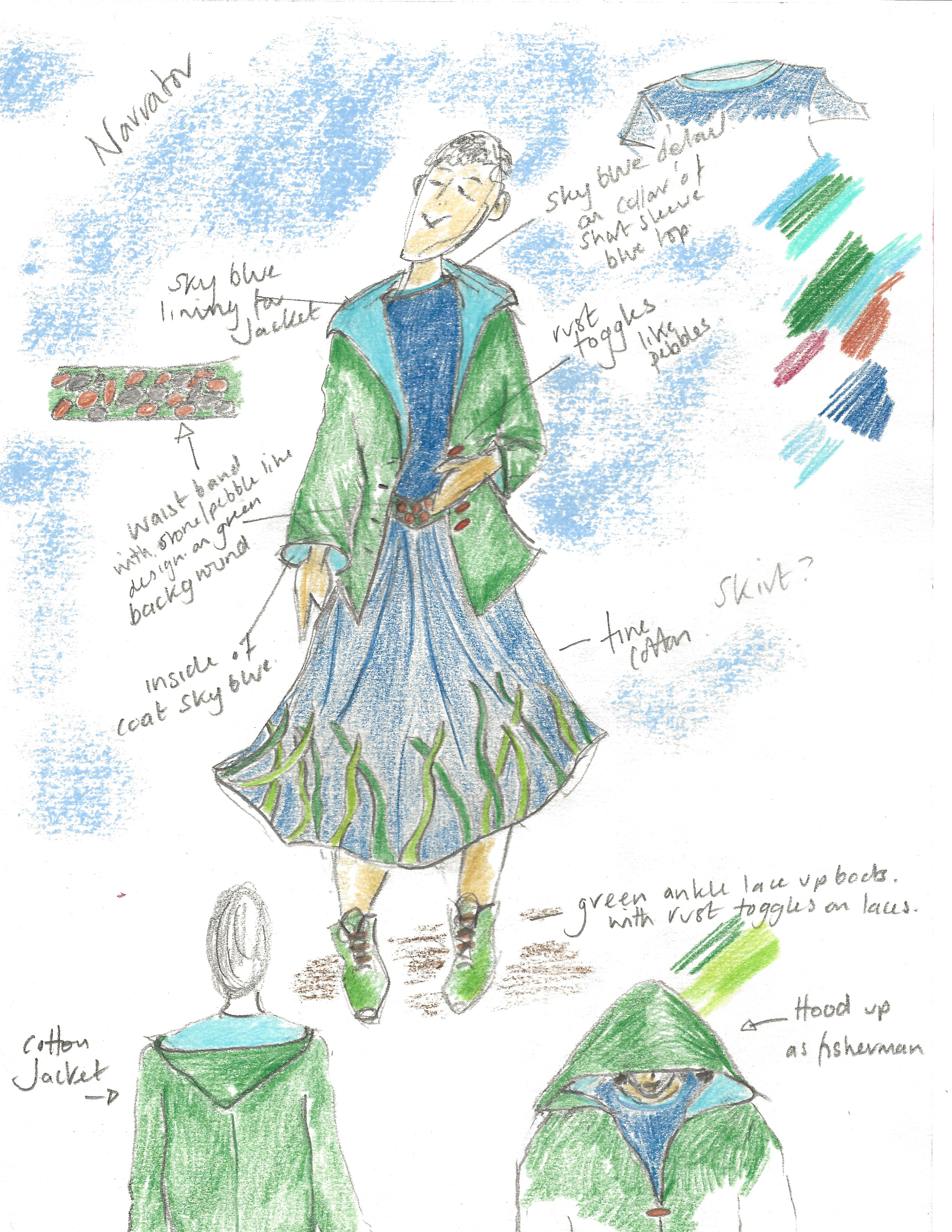 Splash by Extraordinary Bodies - Costume design illustrations by Laura Guthrie - A female figure wearing a floaty blue and green skirt, a green coat with a large hood and blue top.