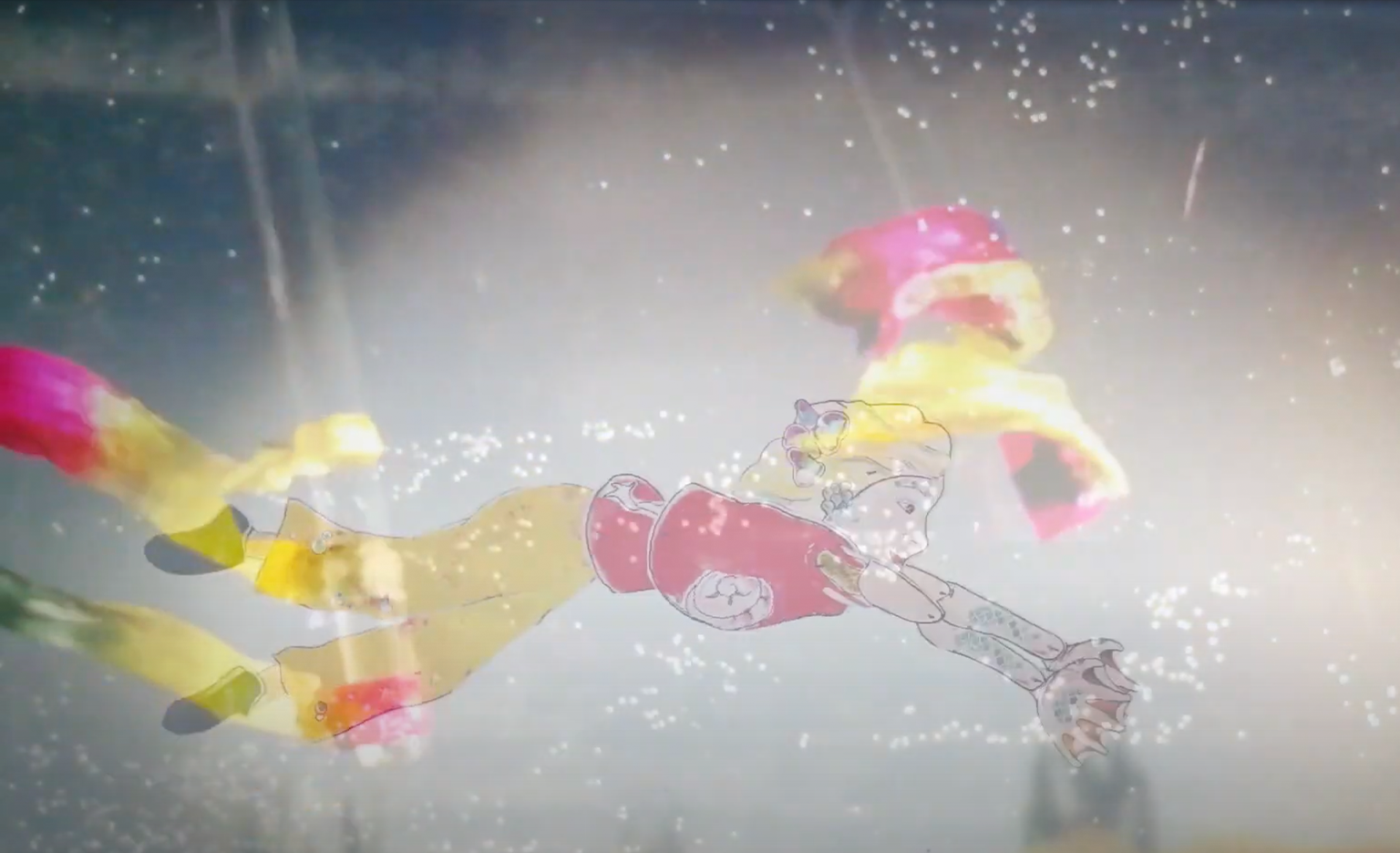A still from a stop-motion animation video. A young white woman with long blonde hair, a red top and yellow trousers swims underwater. Fish puppets swim around her.