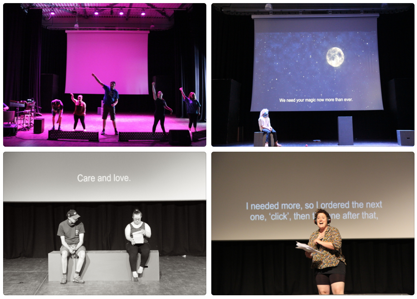Four photos of Till We Win rehearsals. Top left: a group of young people with their fist raised in the air in protest and victory. Top right: a performer sat on a cube on the lefthand side of the stage. Behind them, a screen shows a moon in a clear night sky and captions: 'We need your magic now more than ever.'. Bottom left: two performers sat on a block-bench on stage/ On of them is reading a letter. Behind them, a caption on the screen reads: 'Care and love.'. Bottom left: A woman in her thirties with a glittery gold top and short hair wears headphones and reads from a script. Behind her, captions on the screen read: 'I needed more, so I ordered the next one, 'click', then the one after that,'.
